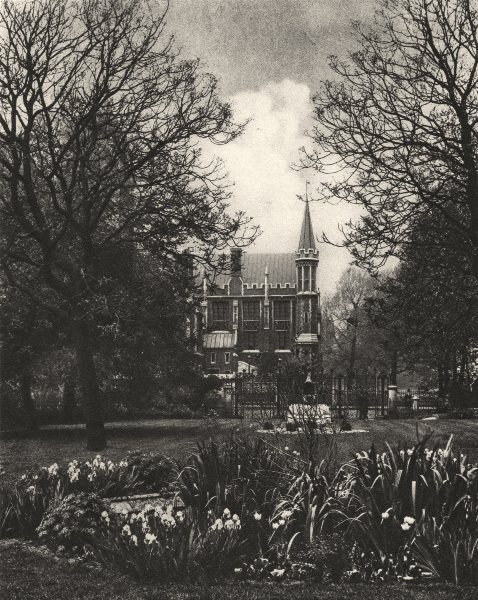 Associate Product LONDON. Red Brick Library of Lincoln's Inn from New Square 1926 old print