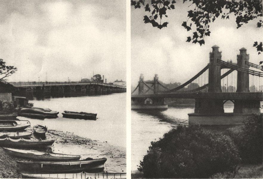 Associate Product LONDON. Old wooden Battersea Bridge. Chelsea Bridge 1926 vintage print