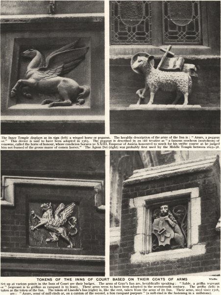 Associate Product LONDON. Tokens of the Inns of court based on their coats of Arms 1926 print