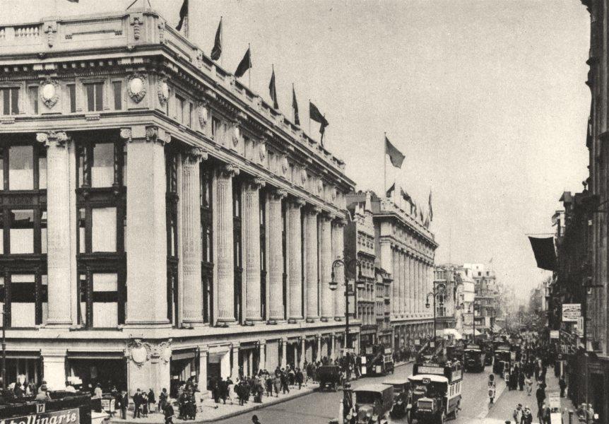 Associate Product LONDON. Selfridge's, Oxford St, half built 1926 old vintage print picture