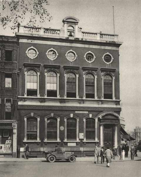 Associate Product LONDON. School in Leicester Square on the site of Hogarth's House 1926 print