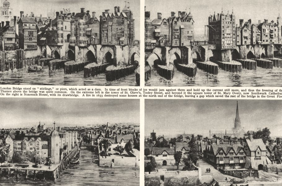 Associate Product LONDON. Old London Bridge east & Blackfriars they were about 1630 1926 print