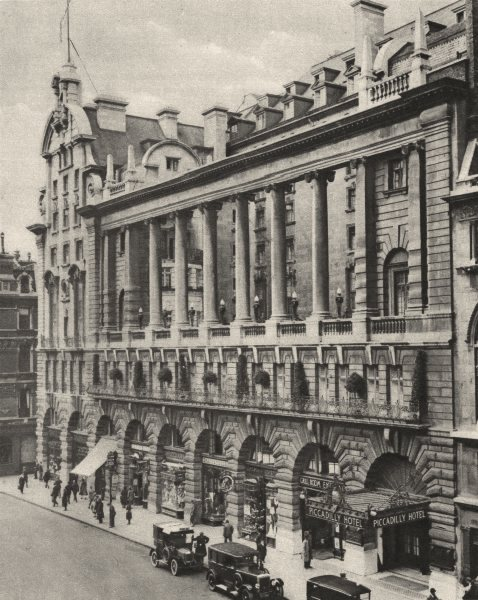 Associate Product LONDON. South front of the Piccadilly hotel, Erected in 1908. Meridien 1926