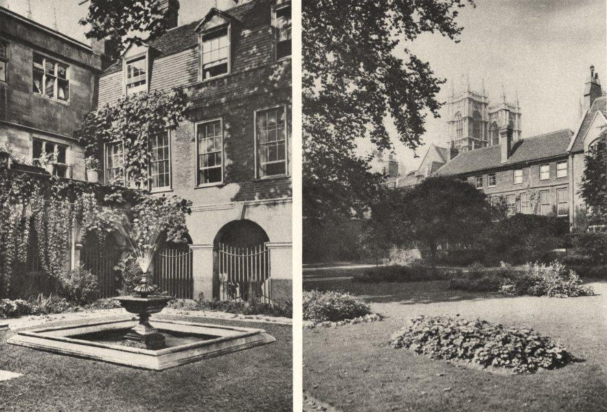 Associate Product LONDON. Westminster Abbey. Little Cloister & College garden 1926 old print