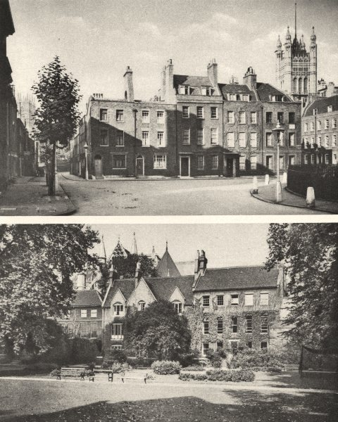 Associate Product LONDON.Smith Square,Westminster & Westminster Abbey from the College garden 1926