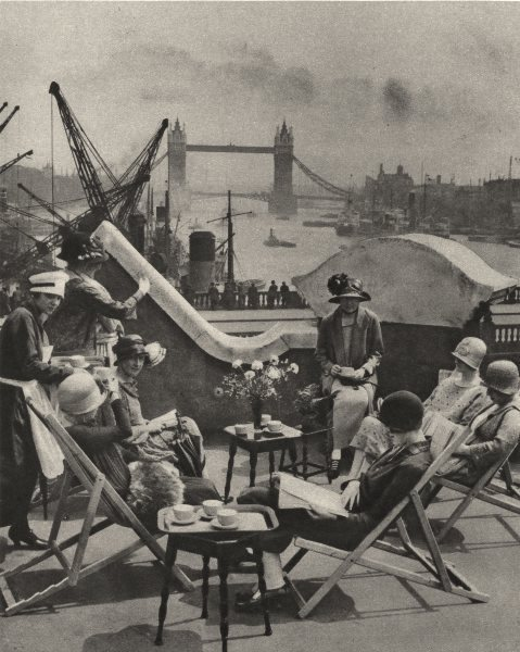 Associate Product LONDON. The Pool the Roof garden the Langbourne club for City women 1926 print