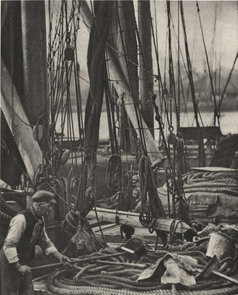 Associate Product LONDON. At the foot of the Mast on a Thames Barge 1926 old vintage print