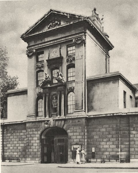 LONDON. Main gate of St. Bartholomew's, London's oldest hospital. Bart's 1926
