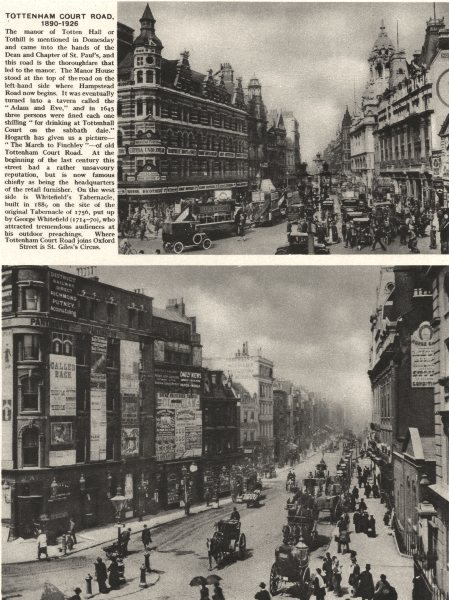 Associate Product LONDON. Tottenham Court Road, 1890 and 1926 1926 old vintage print picture