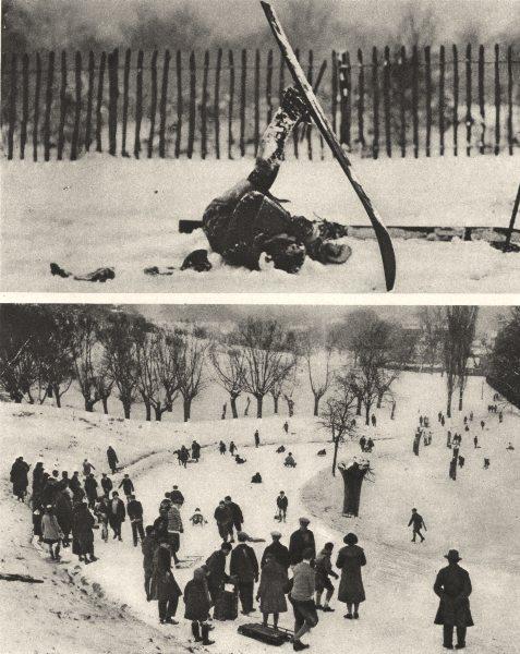 Associate Product HAMPSTEAD. Snow scenes. Skiing Tobogganing  1926 old vintage print picture