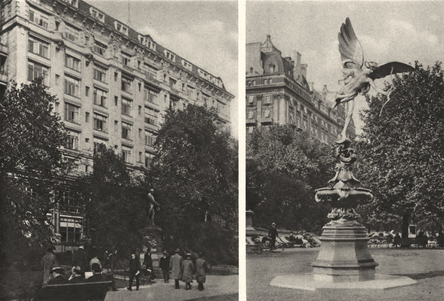 Associate Product LONDON.Savoy Hotel.Eros statue from Piccadilly Circus in Embankment Gardens 1926