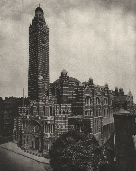 Associate Product LONDON. Westminster's Byzantine cathedral of Red brick from Ashley Place 1926