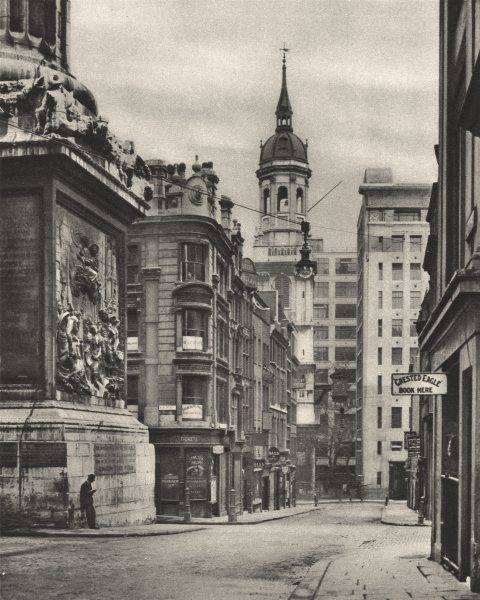 Associate Product LONDON. At the base of the Monument on Fish Street Hill 1926 old vintage print