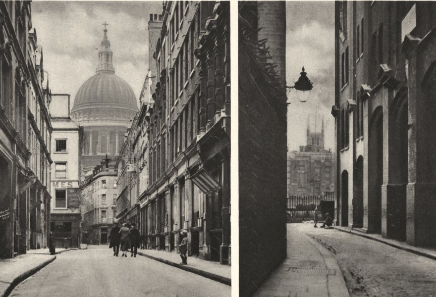 Associate Product LONDON CATHEDRALS. St. Paul's from Watling St. Southwark from riverside 1926