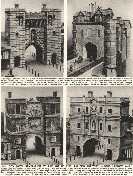 Associate Product LONDON CITY GATES.Demolished act 1760. Bishop's Traitors', Alders, Ludgate  1926