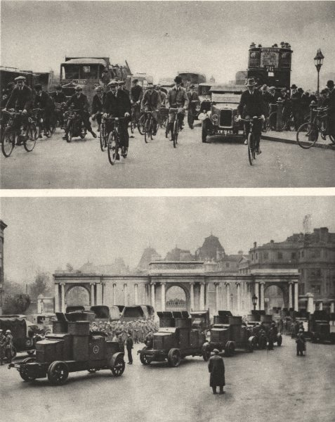 Associate Product LONDON. General strike. Great strike. Cycling. Armoured cars 1926 old print
