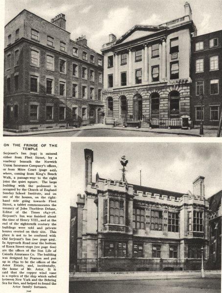 LONDON. Serjeants Inn. Sun Life of Canada Assurance. Pearson. 1926 old print