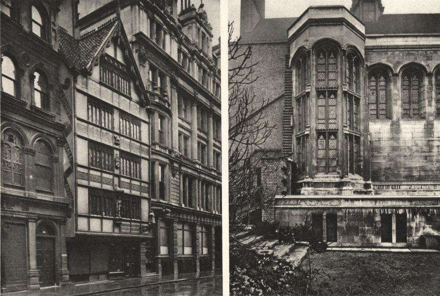 Associate Product CROSBY HALL. Sham-antique front Bishopsgate. Now in Chelsea 1926 old print