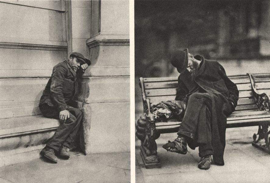 Associate Product LONDON. Tramps. London public who use the seats on the Embankment 1926 print