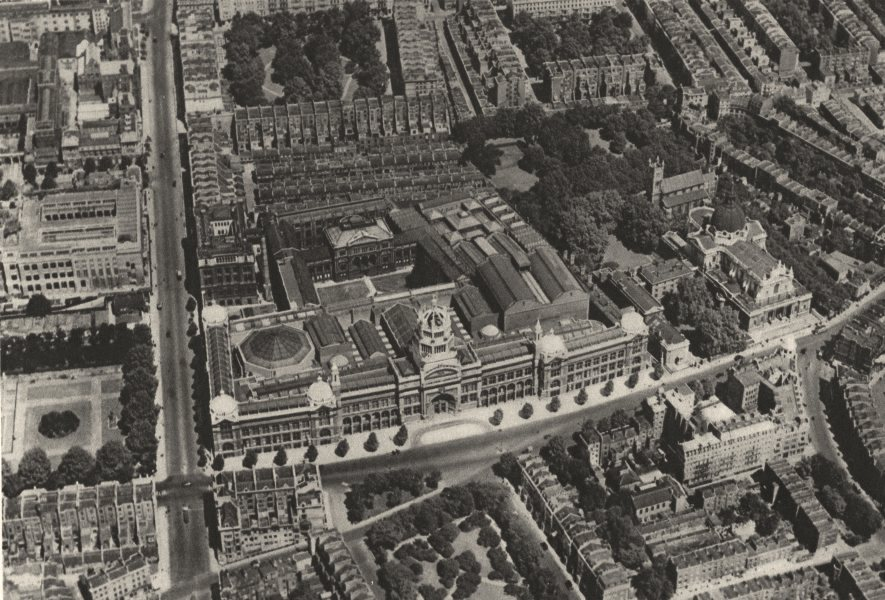 Associate Product LONDON. Victoria & Albert Museum from the air 1926 old vintage print picture