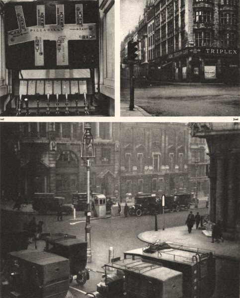 Associate Product LONDON. Controlling Piccadilly's Traffic. Traffic-lights 1926 old print
