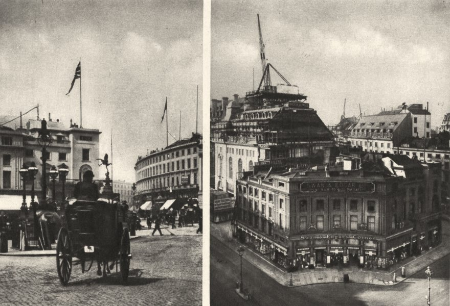 Associate Product LONDON. Piccadilly Circus. Regent Circus. Swan and Edgar being demolished 1926