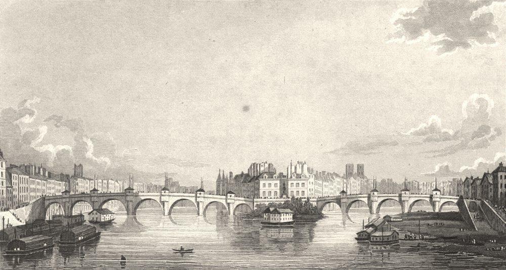 Associate Product PARIS. Pont Neuf, from Pont des Arts 1831 old antique vintage print picture