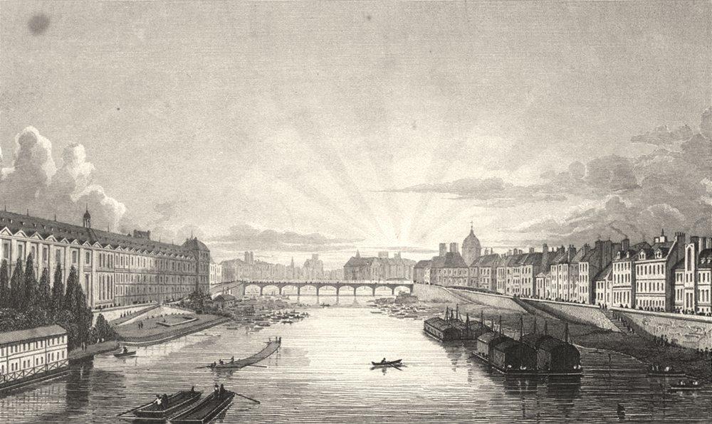 PARIS. Pont des Arts from the Pont Royal 1831 old antique print picture