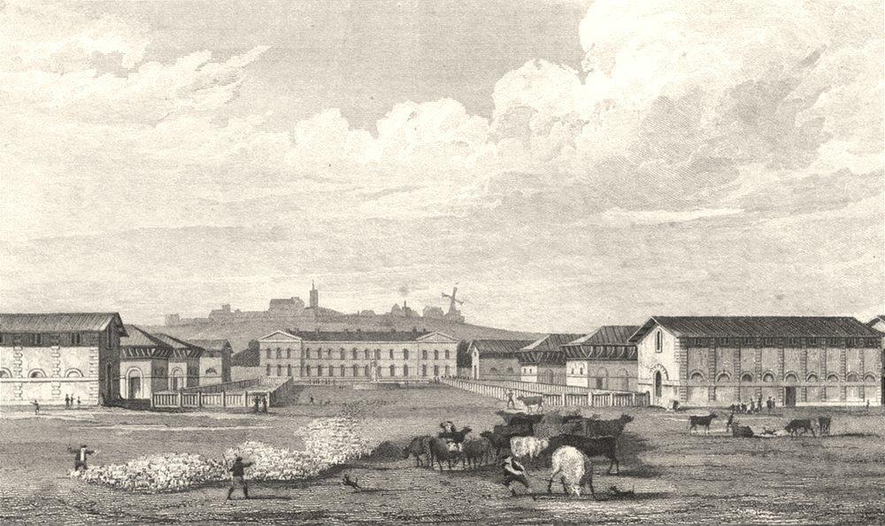 Associate Product PARIS. Abattoir at Montmartre 1831 old antique vintage print picture