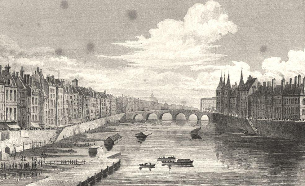 Associate Product PARIS. Pont Au Change 1831 old antique vintage print picture