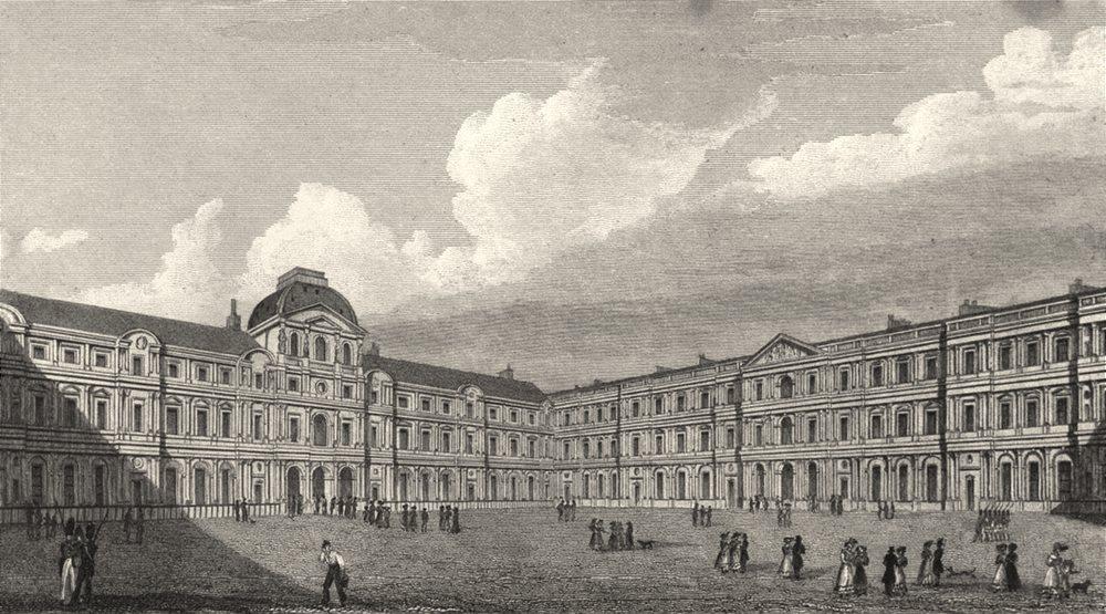 Associate Product PARIS. Court of the Louvre 1831 old antique vintage print picture