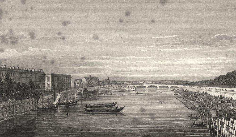 Associate Product PARIS. Pont Louis XVI, from Pont Royal 1831 old antique vintage print picture