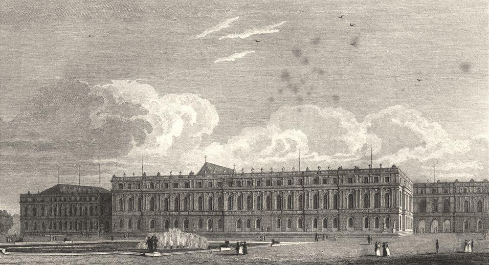 Associate Product YVELINES. Palais de Versailles, Façade du Jardin 1831 old antique print