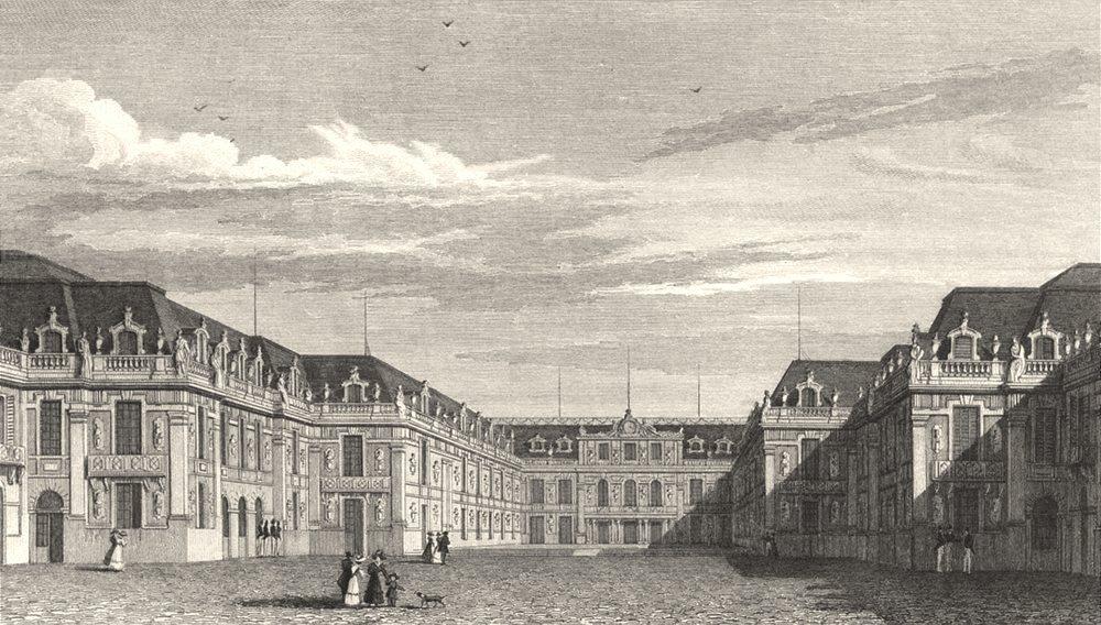 Associate Product YVELINES. Palais de Versailles, Cour Royale 1831 old antique print picture
