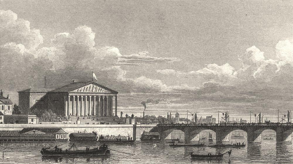 Associate Product PARIS. Chambre des deputes et Pont Louis XVI 1831 old antique print picture
