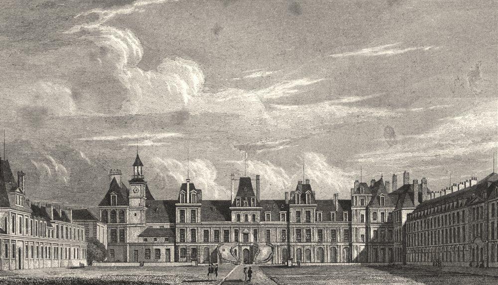 Associate Product SEINE- ET- MARNE. Palais de Fontainebleau, Cour D'Honneur 1831 old print