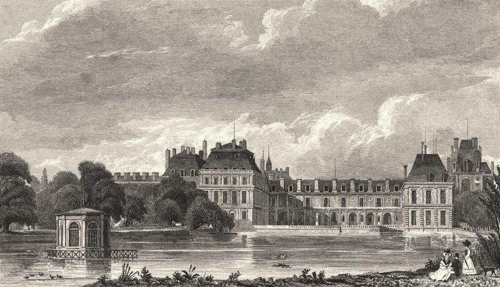 Associate Product SEINE- ET- MARNE. Chateau de Fontainebleau 1831 old antique print picture