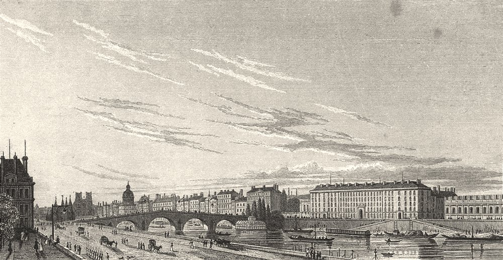 Associate Product PARIS. Pont Royal et Hotel Des Gardes du Corps 1831 old antique print picture