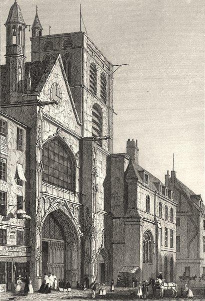 Associate Product PARIS. L'Eglise de St. Merri. Rue St. Martin 1831 old antique print picture