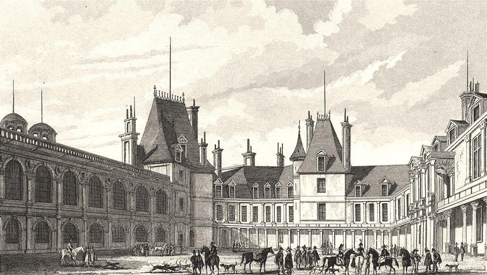 Associate Product SEINE- ET- MARNE. Fontainebleau, Cour D'Honneur (1)  1831 old antique print