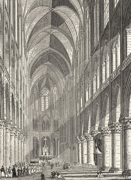 Associate Product PARIS. Interieur de la Chapelle Val de Grace 1831 old antique print picture