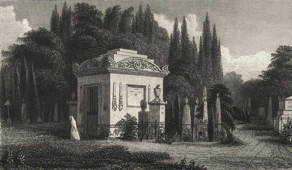 Associate Product PARIS. Monument, Pere La Chaise 1831 old antique vintage print picture