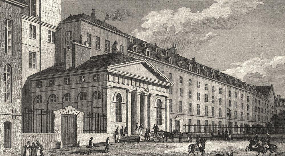 Associate Product PARIS. Hôpital de L'Hotel Dieu 1831 old antique vintage print picture