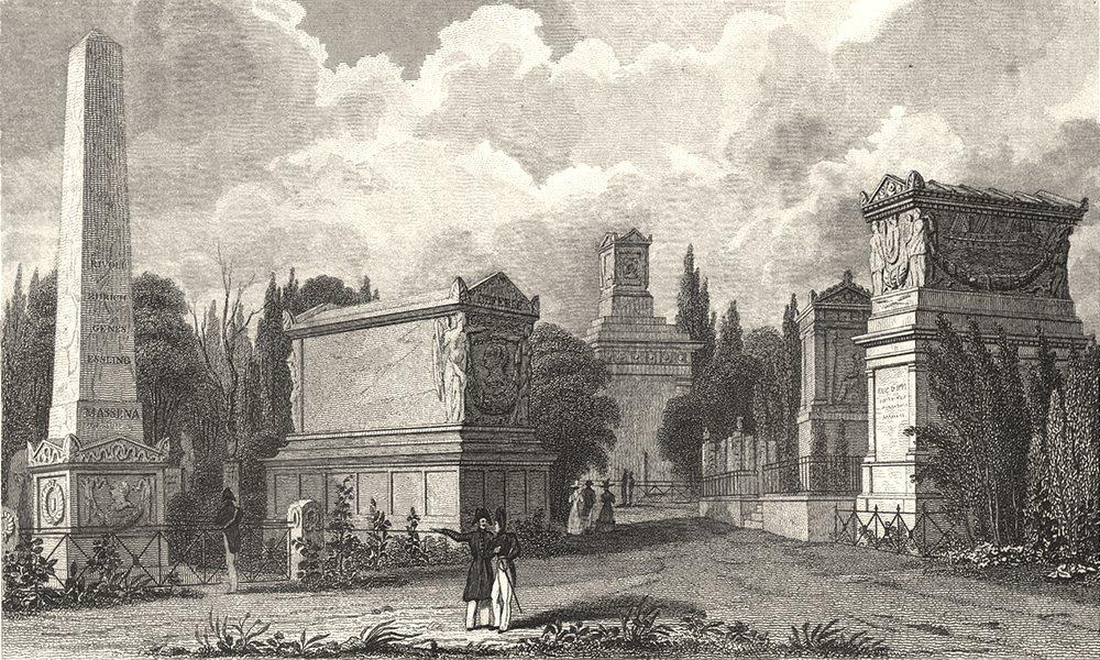 Associate Product PARIS. Pere La Chaise, Monumens de Massena, de Lefebre &c.  1831 old print