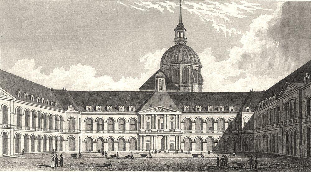 Associate Product PARIS. Cour Royale, Hotel des Invalides 1831 old antique vintage print picture