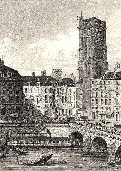 Associate Product PARIS. Place du Châtelet (Prise du Quai de L' Horloge)  1831 old antique print