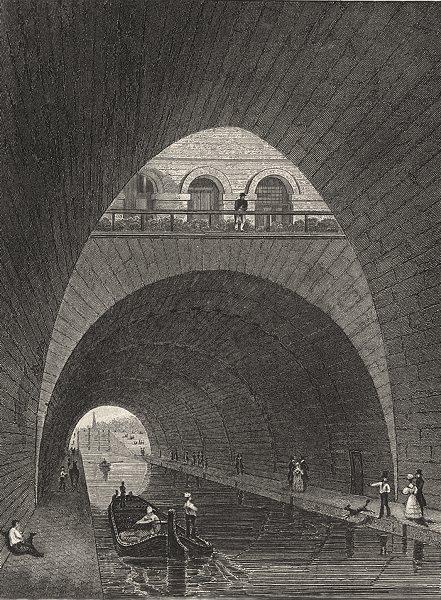 Associate Product PARIS. Canal de L'Ourco (Sous la Fontaine de L'Elephant)  1831 old print