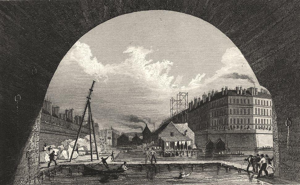 Associate Product PARIS. Vue de la Seine (Prise de dessous le Pont)  1831 old antique print