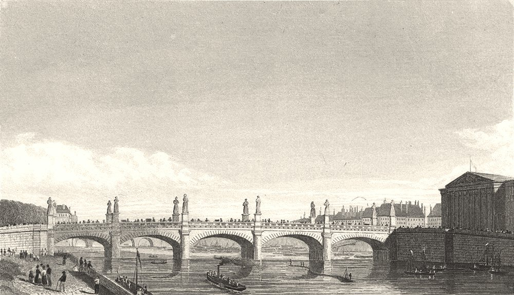 Associate Product PARIS. Pont Louis XVI 1831 old antique vintage print picture