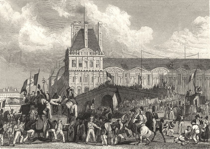 Associate Product YVELINES. Dèpart de la Populace, Pour Rambouillet 1831 old antique print